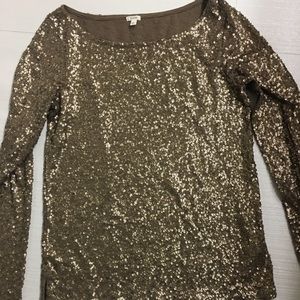 Jcrew gold sequin long sleeve tshirt